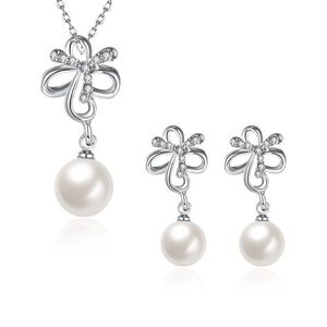 silver-tone freshwater pearls earrings necklace